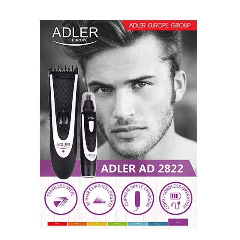 Σετ Επαναφορτιζόμενη Κουρευτική - Ξυριστική Μηχανή και Τρίμμερ Adler AD-2822