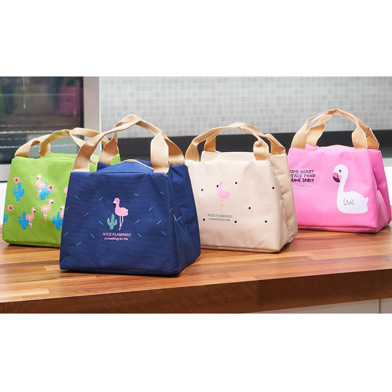 Ισοθερμική Τσάντα Φαγητού με Σχέδιο Φλαμίνγκο Χρώματος Μπεζ V2 SPM VL3419