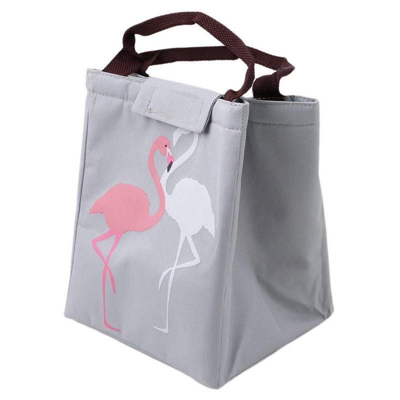 Ισοθερμική Τσάντα Φαγητού με Σχέδιο Φλαμίνγκο Χρώματος Γκρι V1 SPM VL3192