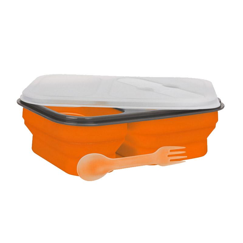 Φαγητοδοχείο από Σιλικόνη με 2 Θαλάμους Smile Χρώματος Πορτοκαλί SLS-1/5
