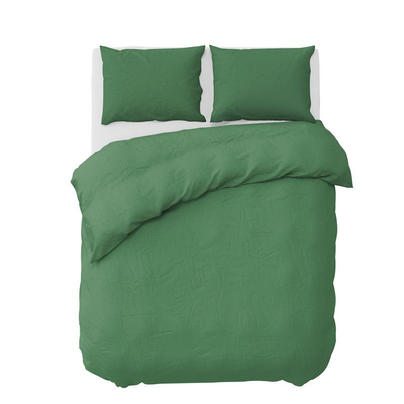 Σετ Υπέρδιπλη Παπλωματοθήκη με Μαξιλαροθήκες 220 x 240 cm Pierre Cardin Stone Washed Χρώματος Πράσινο