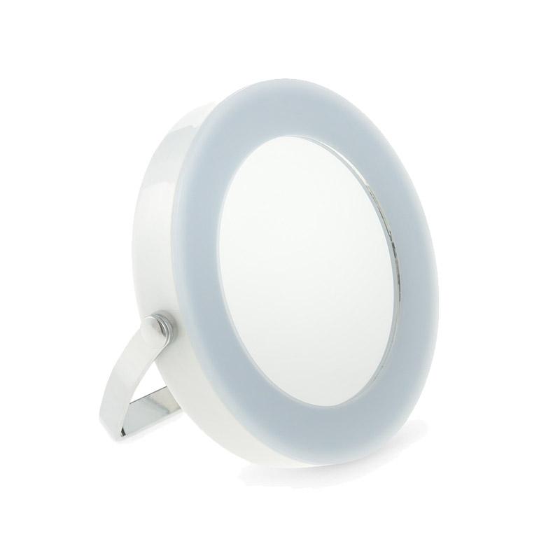 Στρογγυλός Φορητός Καθρέπτης Ταξιδιού με LED Φωτισμό και Βάση GloBrite Χρώματος Λευκό VL2952