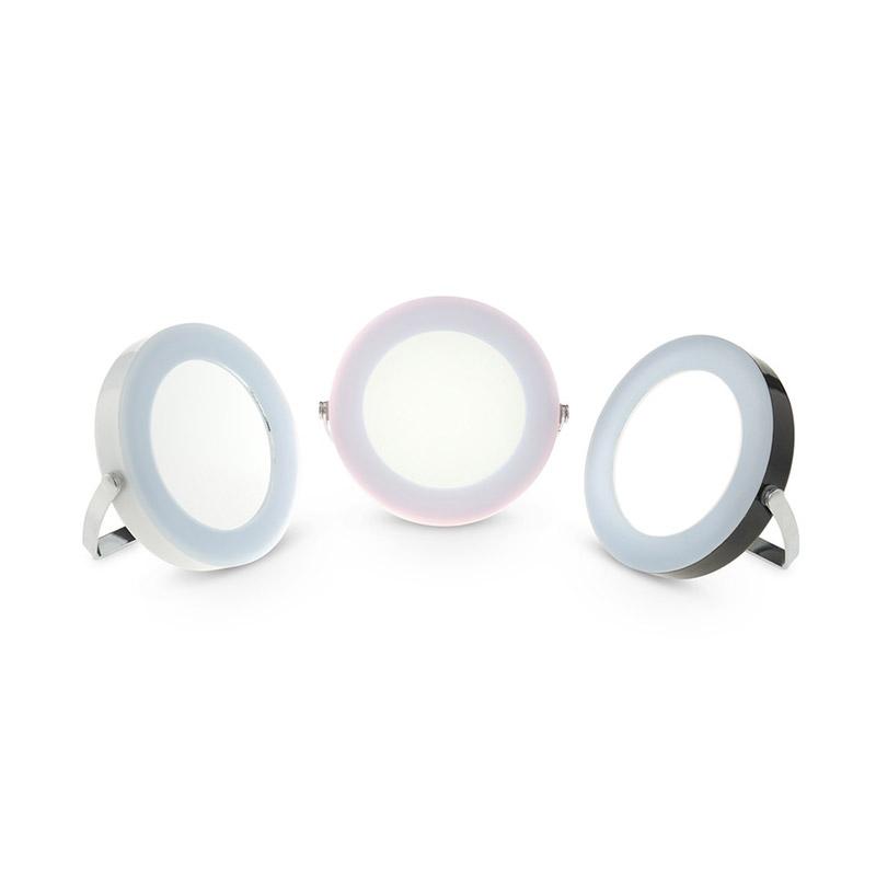 Στρογγυλός Φορητός Καθρέπτης Ταξιδιού με LED Φωτισμό και Βάση GloBrite Χρώματος Ροζ VL2953