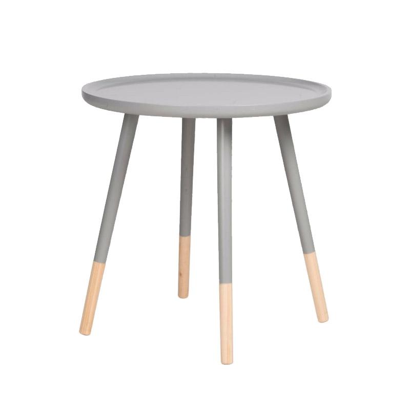 Ξύλινο Στρογγυλό Τραπέζι 60 x 60 x 48 cm Χρώματος Γκρι Homestyle 99487