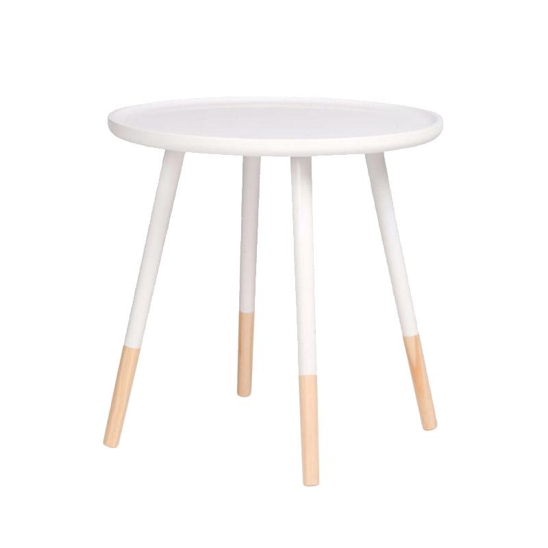 Ξύλινο Στρογγυλό Τραπέζι 60 x 60 x 48 cm Χρώματος Λευκό Homestyle 99487