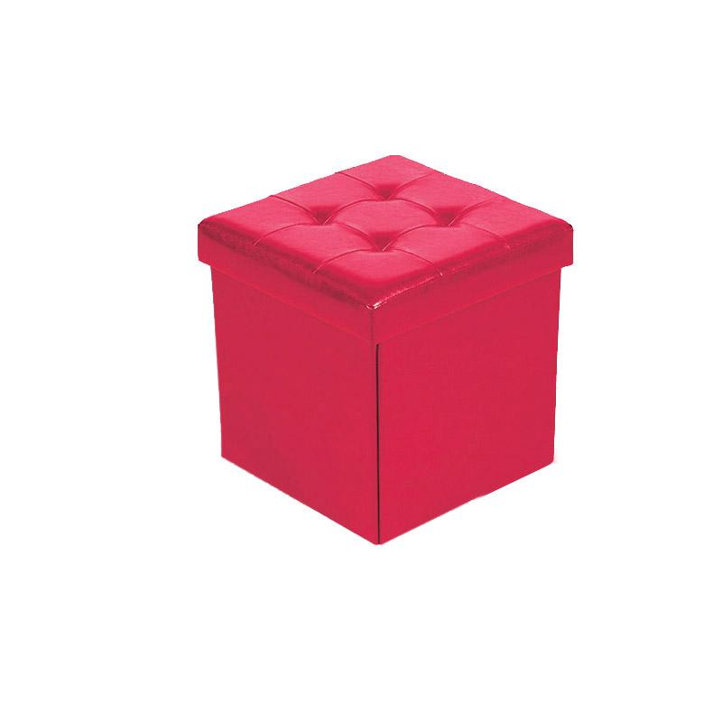 Πτυσσόμενο Σκαμπό με Αποθηκευτικό Χώρο 33 x 33 x 33 cm Χρώματος Κόκκινο Homestyle 32477
