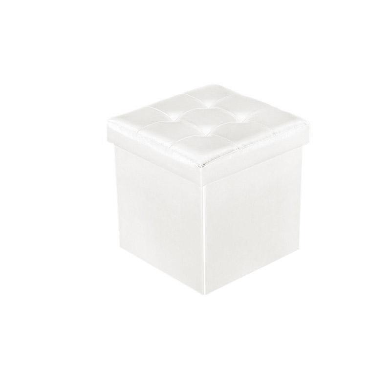Πτυσσόμενο Σκαμπό με Αποθηκευτικό Χώρο 33 x 33 x 33 cm Χρώματος Λευκό Homestyle 32477