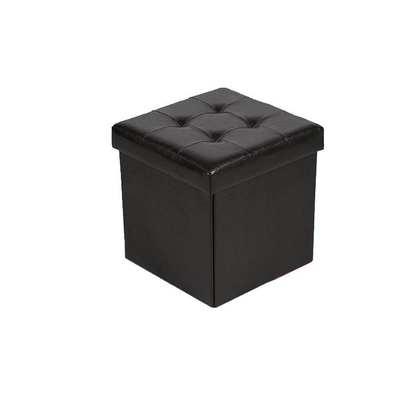 Πτυσσόμενο Σκαμπό με Αποθηκευτικό Χώρο 33 x 33 x 33 cm Χρώματος Μαύρο Homestyle 32477