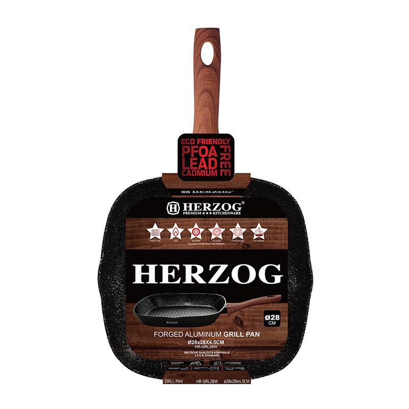 Αντικολλητικό Τηγάνι - Γκριλ 28 cm Herzog HR-GRL28W