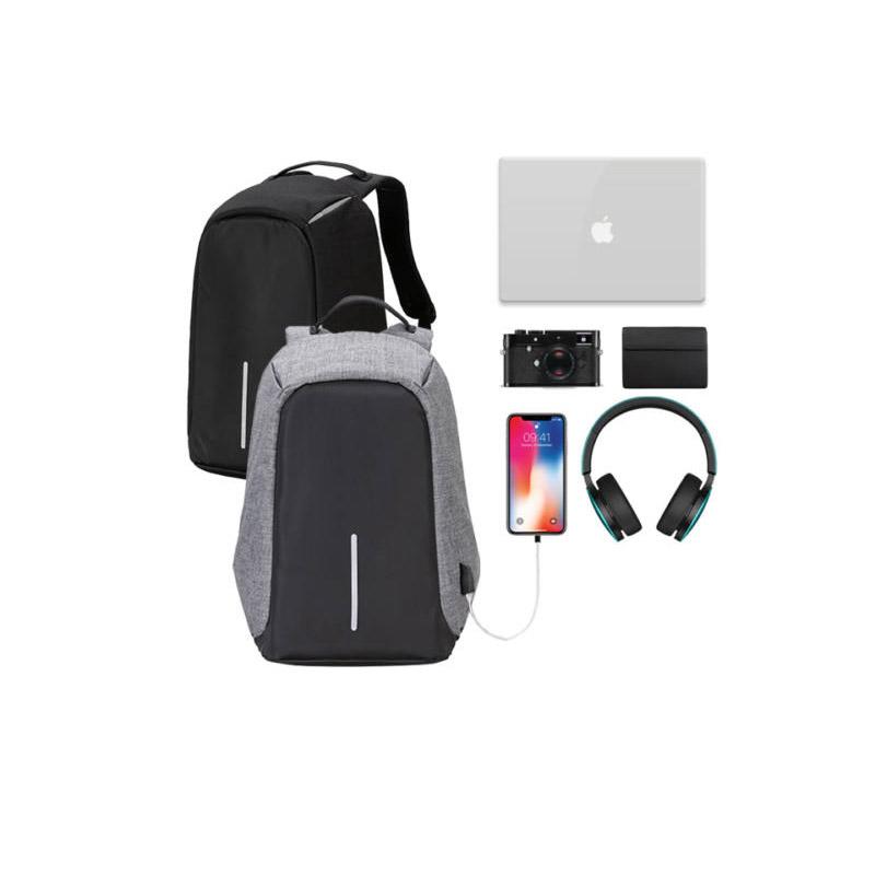 Αντικλεπτικό Σακίδιο Πλάτης με Θύρα Φόρτισης USB Χρώματος Μαύρο Hoppline HOP1000827-1