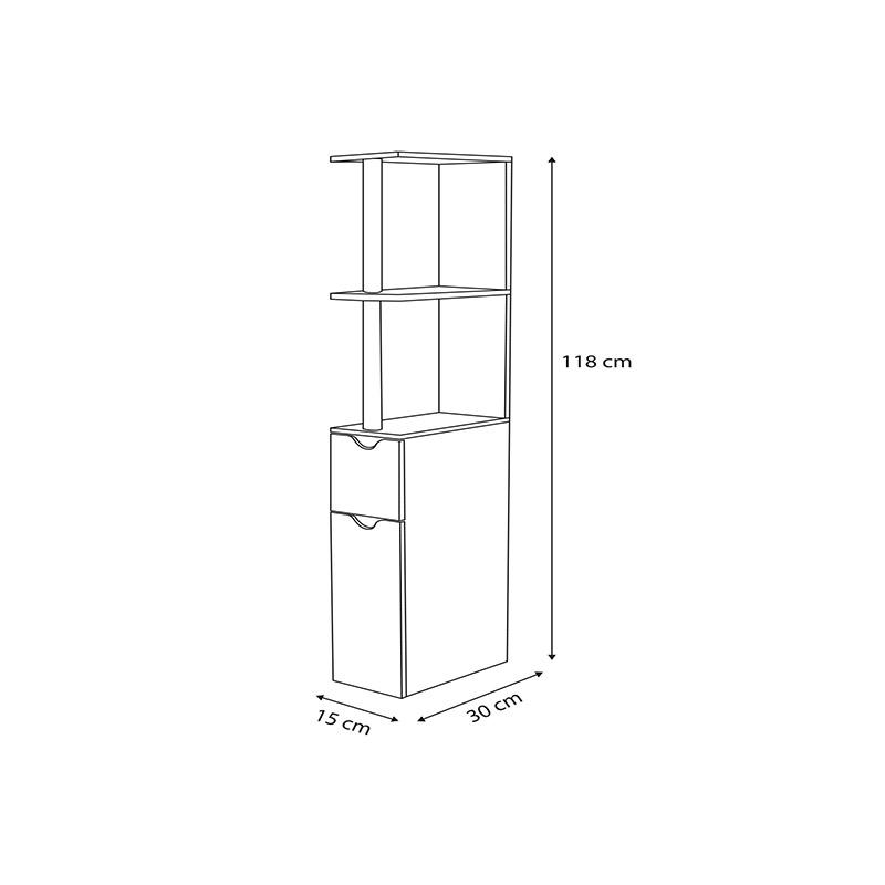 Εταζέρα Μπάνιου με 2 Ντουλάπια και 2 Ράφια 15.2 x 29.8 x 118 cm SPM 50070106-3