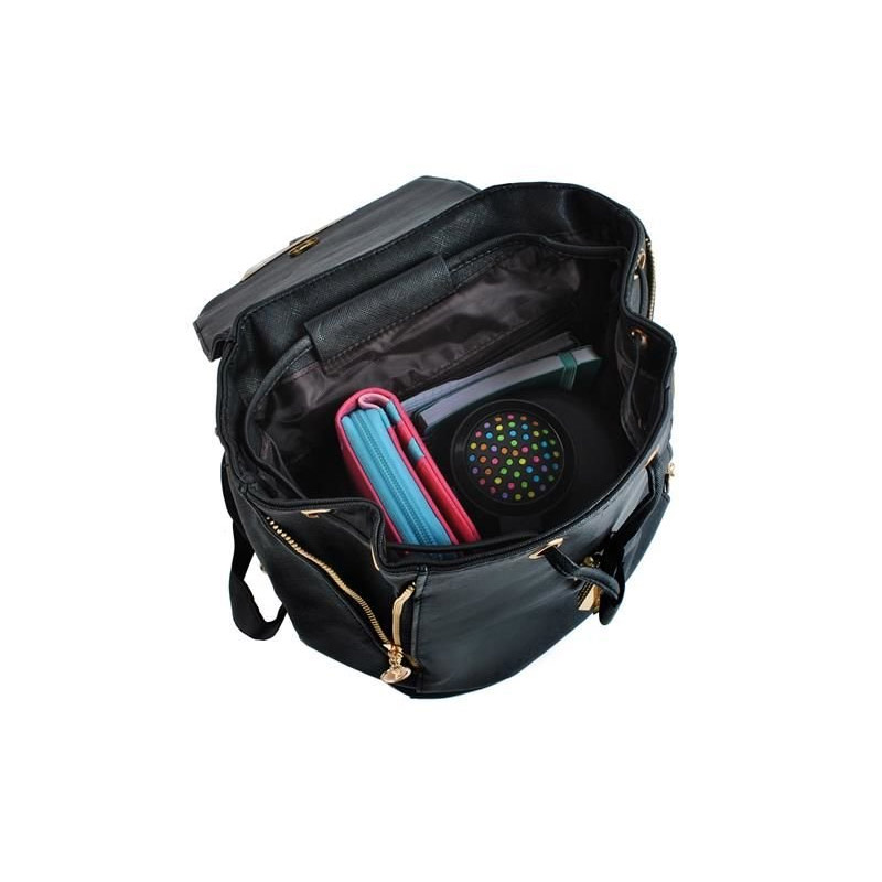 Γυναικεία Τσάντα Πλάτης με Μαγνητικό Κούμπωμα Χρώματος Μαύρο SPM 6784