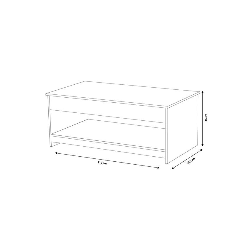 Ξύλινο Τραπέζι Σαλονιού 110 x 60.5 x 45 cm Idomya 30080035