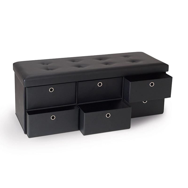 Πτυσσόμενος Πάγκος Αποθήκευσης με 6 Συρτάρια 100 x 38 x 38 cm Χρώματος Μαύρο SPM 50070210