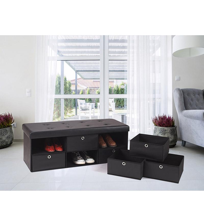 Πτυσσόμενος Πάγκος Αποθήκευσης με 6 Συρτάρια 76 x 38 x 38 cm Χρώματος Μαύρο SPM 50070202