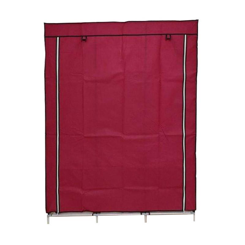 Φορητή Υφασμάτινη Ντουλάπα με Μεταλλικό Σκελετό 130 x 45 x 170 cm Χρώματος Κόκκινο Hoppline HOP1000701-3