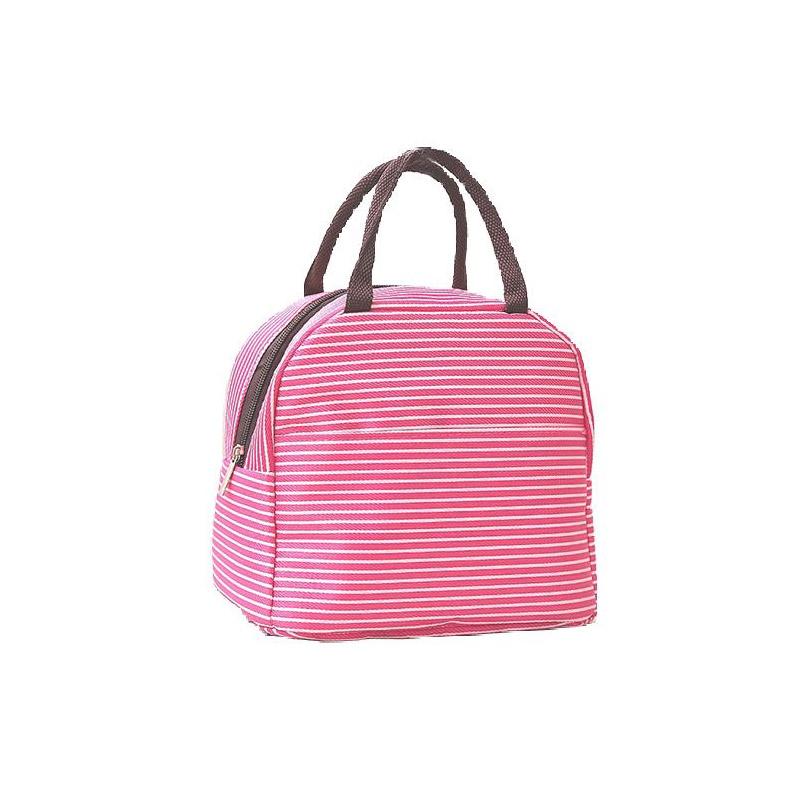 Ισοθερμική Ριγέ Τσάντα Φαγητού Χρώματος Ροζ SPM VL3339
