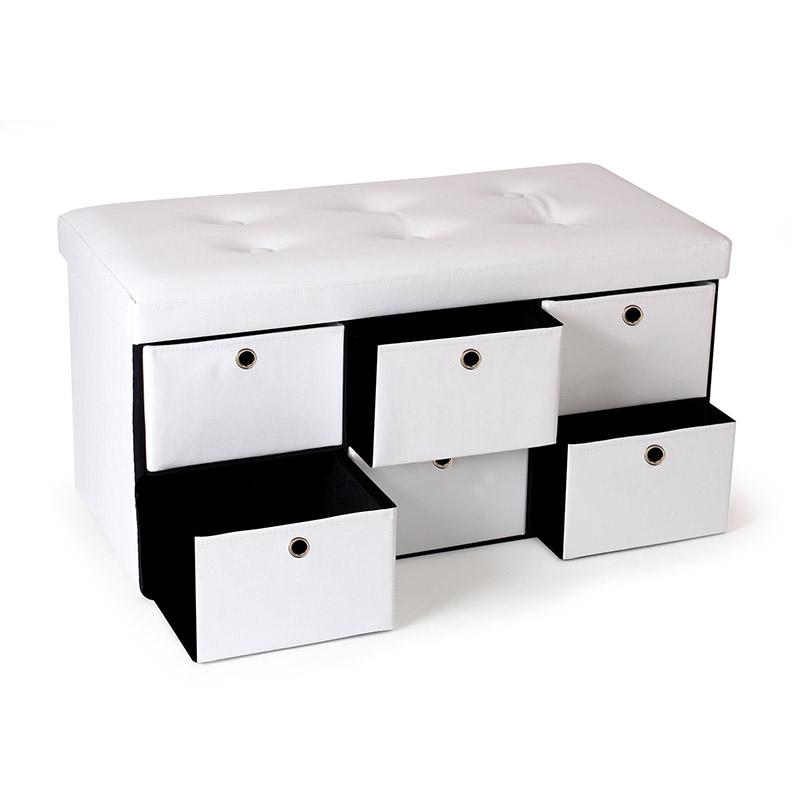Πτυσσόμενος Πάγκος Αποθήκευσης με 6 Συρτάρια 76 x 38 x 38 cm Χρώματος Άσπρο SPM 50070204