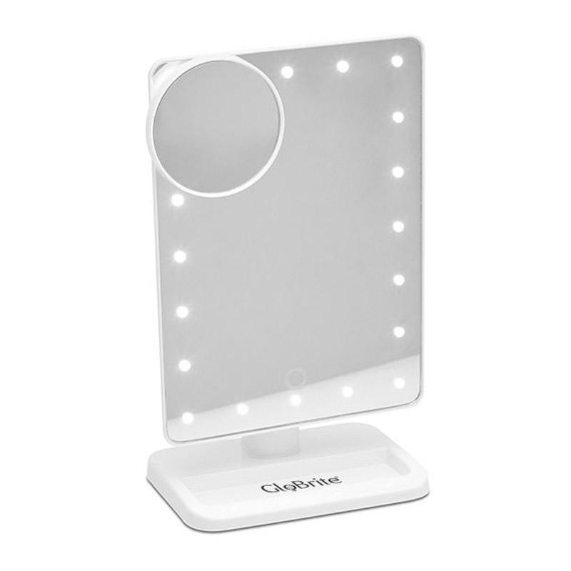 Επιτραπέζιος Καθρέπτης με Led Φωτισμό και Κουμπί Αφής Χρώματος Λευκό GloBrite LED_touch_mirror-WHT