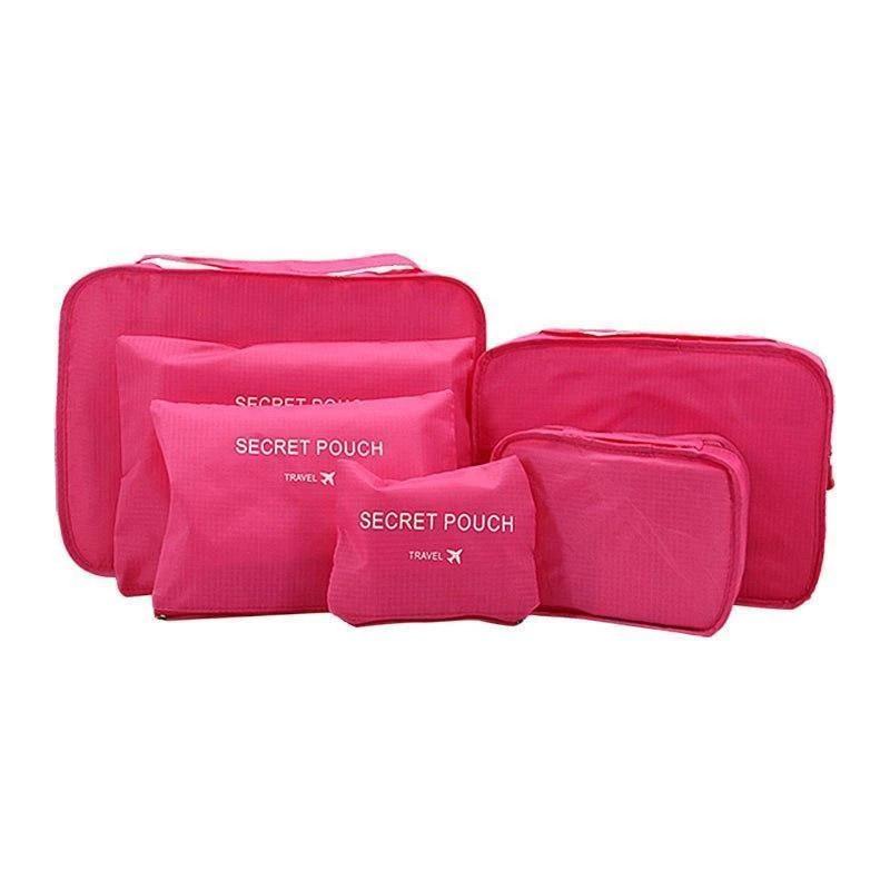 Σετ Αδιάβροχα Τσαντάκια Ταξιδιού 6 τμχ Χρώματος Ροζ SPM 6pcluggorgan-PINK