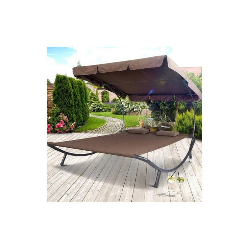 Διπλή Ξαπλώστρα - Κρεβάτι Κήπου 1.5 x 1.75 x 2 m Χρώματος Καφέ Hoppline HOP1000813-3