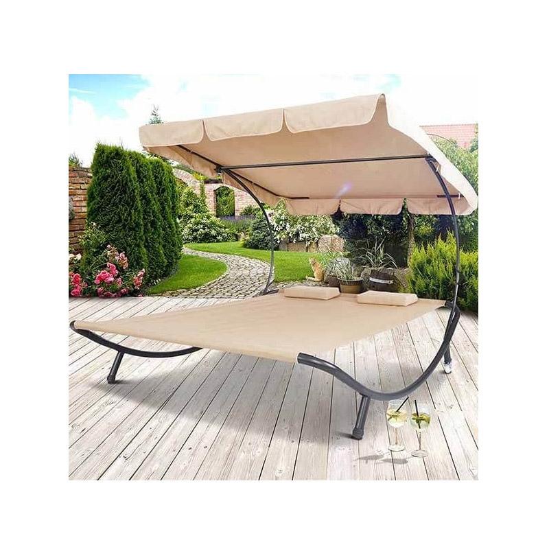 Διπλή Ξαπλώστρα - Κρεβάτι Κήπου 1.5 x 1.75 x 2 m Χρώματος Μπεζ Hoppline HOP1000813-1