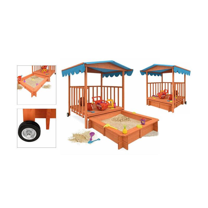 Ξύλινο Playhouse με Αμμοδόχο 131 x 181.5 x 137.5 cm Hoppline HOP1000920-1