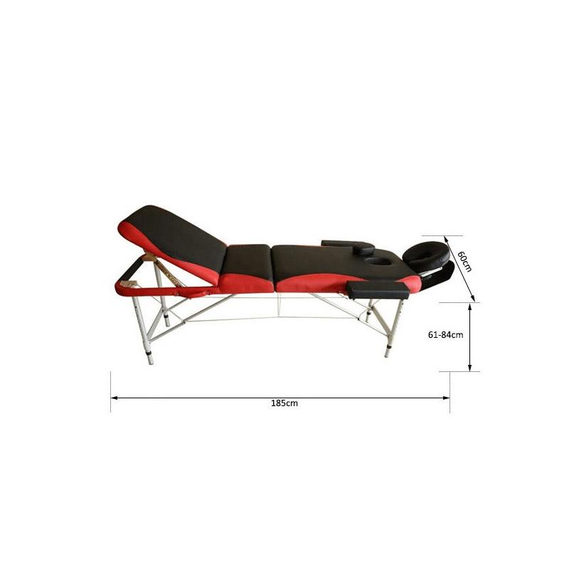 Φορητό Αναδιπλούμενο Επαγγελματικό Κρεβάτι - Κλίνη Μασάζ Φυσικοθεραπείας 3 Ζωνών Χρώματος Κόκκινο HOMCOM 700-039RD