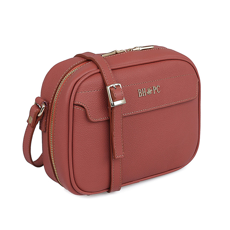 Δερμάτινη Γυναικεία Τσάντα Ώμου Χρώματος Dusty Rose Beverly Hills Polo Club 118 661BHP0152