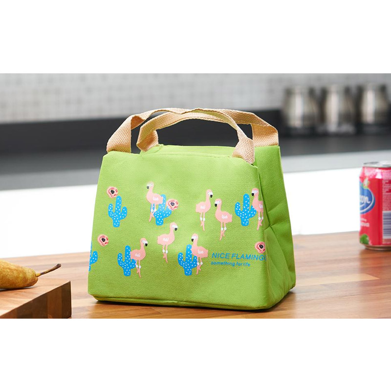Ισοθερμική Τσάντα Φαγητού με Σχέδιο Φλαμίνγκο Χρώματος Πράσινο V2 SPM VL3420