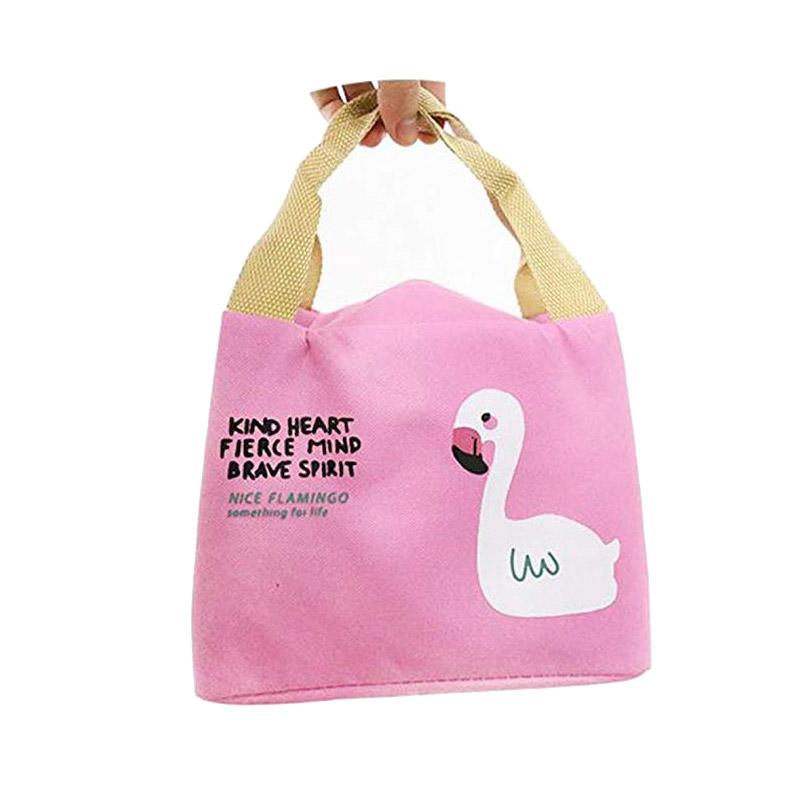 Ισοθερμική Τσάντα Φαγητού με Σχέδιο Φλαμίνγκο Χρώματος Ροζ V2 SPM VL3421