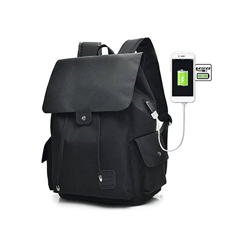 Σακίδιο Πλάτης με Θύρα Φόρτισης USB Χρώματος Μαύρο Kequ K-340