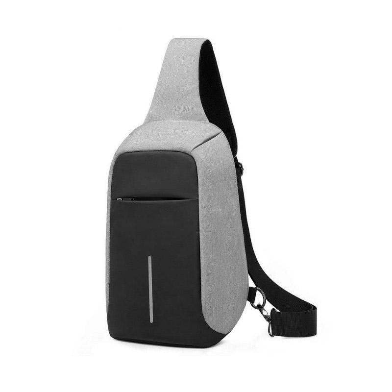 Σετ Αντικλεπτικό Σακίδιο Πλάτης και Χιαστί Σακίδιο Ώμου με Θύρα Φόρτισης USB Χρώματος Γκρι Hoppline HOP1000970-2