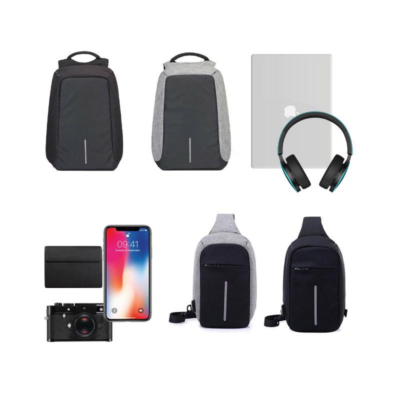 Σετ Αντικλεπτικό Σακίδιο Πλάτης και Χιαστί Σακίδιο Ώμου με Θύρα Φόρτισης USB Χρώματος Μαύρο Hoppline HOP1000970-1