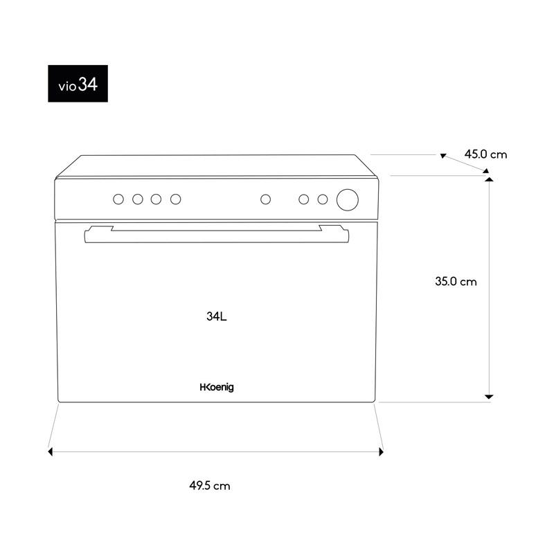 Φούρνος Μικροκυμάτων με Θερμό Αέρα 34 Lt 900-2050 W H.Koenig VIO34
