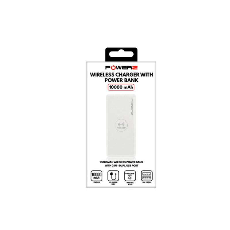 Power Bank 10000mAh Ασύρματης Φόρτισης με 2 Θύρες USB Χρώματος Λευκό PowerZ R167404