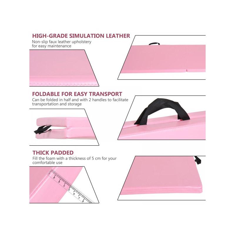 Φορητό Αναδιπλούμενο Στρώμα Γυμναστικής Χρώματος Ροζ HOMCOM A93-033PK