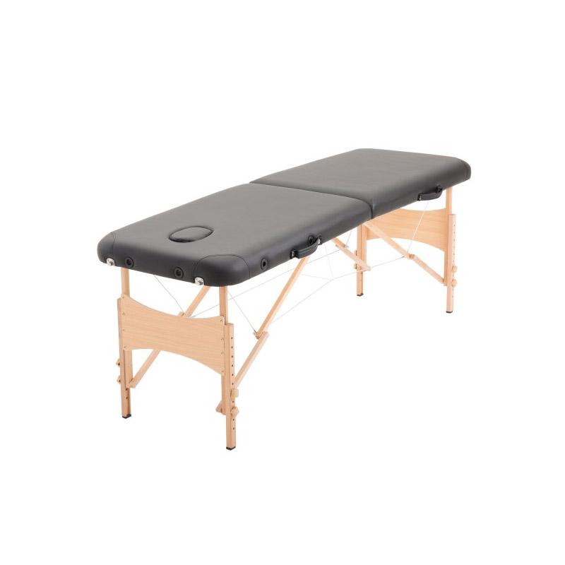 Φορητό Ξύλινο Αναδιπλούμενο Επαγγελματικό Κρεβάτι - Κλίνη Μασάζ Φυσικοθεραπείας 2 Ζωνών Χρώματος Μαύρο HOMCOM 5550-3291