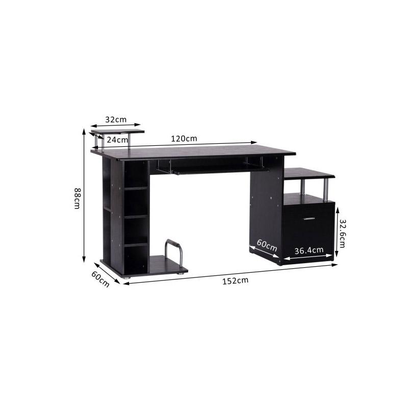 Ξύλινο Γραφείο με Θέση για Υπολογιστή και Πληκτρολόγιο 152 x 60 x 88 cm HOMCOM 920-013