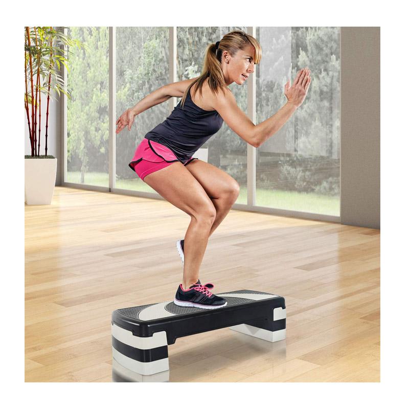 Πλαστικό Σκαλοπάτι Γυμναστικής Aerobic Stepper με Ρυθμιζόμενο Ύψος HOMCOM A90-077BK