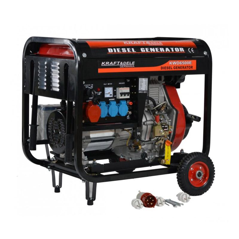 Φορητή Τριφασική Ηλεκτρογεννήτρια Πετρελαίου 6500 W 12/230 /380 V Kraft&Dele KD-120