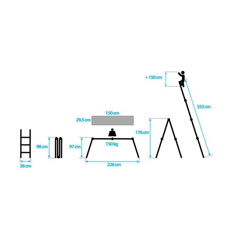 Πολυμορφική Τηλεσκοπική Σκάλα με Τραβέρσα 4x3 Humberg 4601