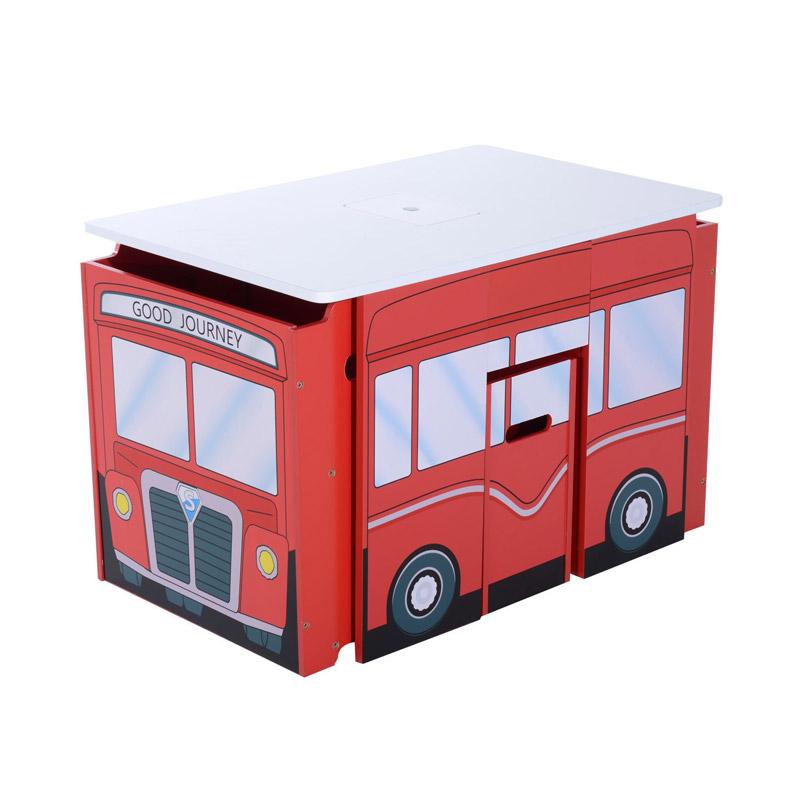Σετ Ξύλινο Παιδικό Τραπέζι - Λεωφορείο με 2 Καθίσματα HOMCOM 312-002