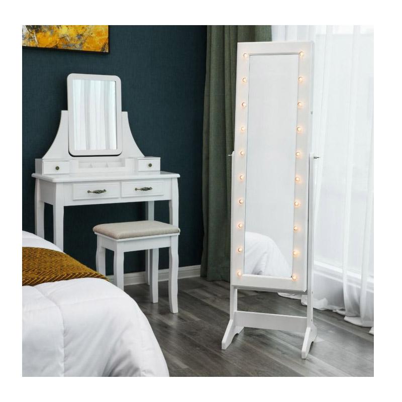 Κοσμηματοθήκη Μπιζουτιέρα με Ολόσωμο Καθρέπτη και Φωτισμό LED 40 x 146 x 36 cm Songmics JBC81WTV1