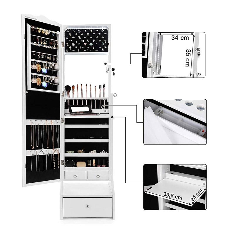 Κοσμηματοθήκη Μπιζουτιέρα 41 x 156 x 36.5 cm με Ολόσωμο Καθρέπτη και LED Φωτισμό Χρώματος Λευκό Songmics JBC87WTV1