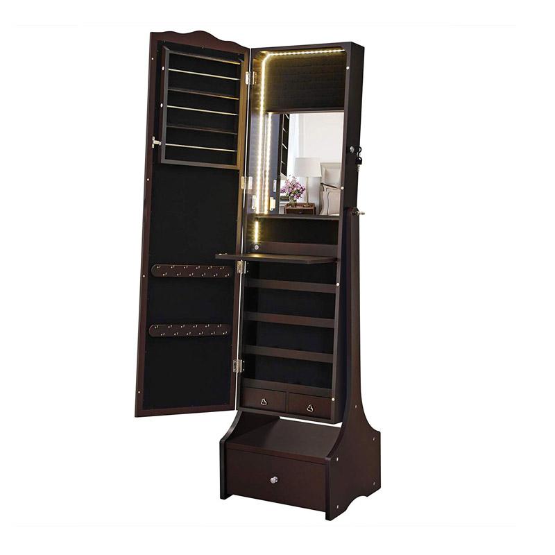 Κοσμηματοθήκη Μπιζουτιέρα 41 x 156 x 36.5 cm με Ολόσωμο Καθρέπτη και LED Φωτισμό Χρώματος Καφέ Songmics JBC87BRV1