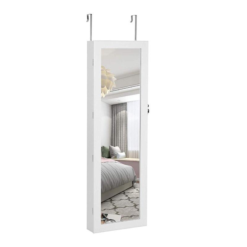 Κρεμαστή Κοσμηματοθήκη Μπιζουτιέρα με Καθρέπτη και Φωτισμό LED 37 x 120 x 9.5 cm Songmics JBC93W