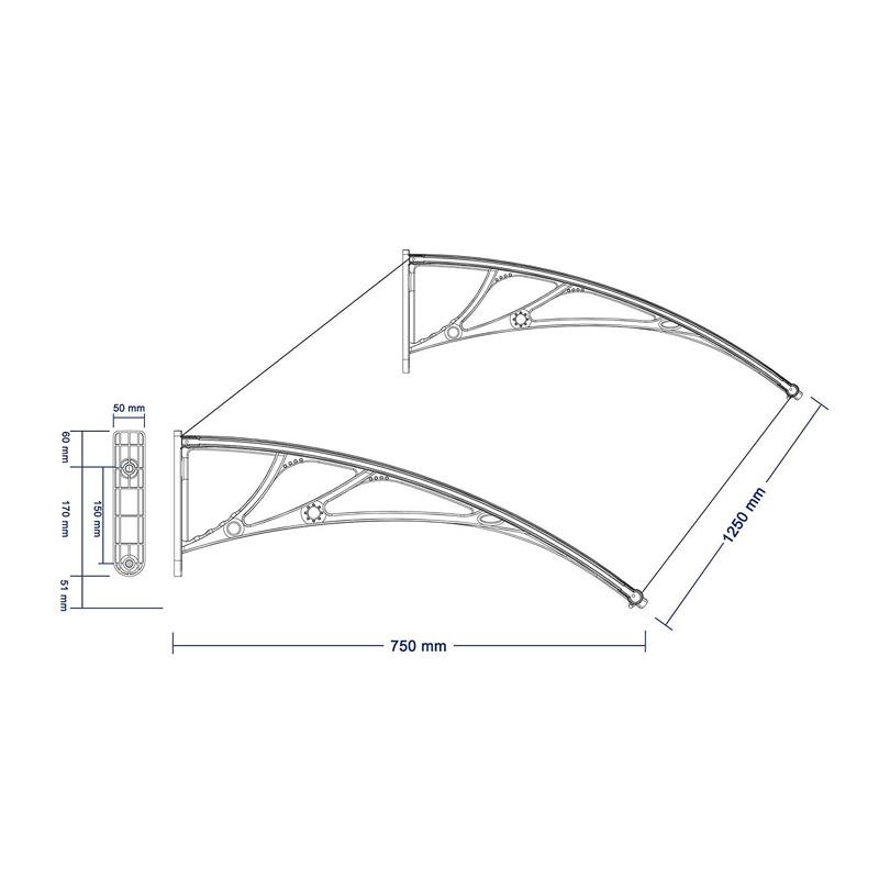 Πλαστικό Κιόσκι - Τέντα Πόρτας Εισόδου 80 x 120 cm Songmics GVH017