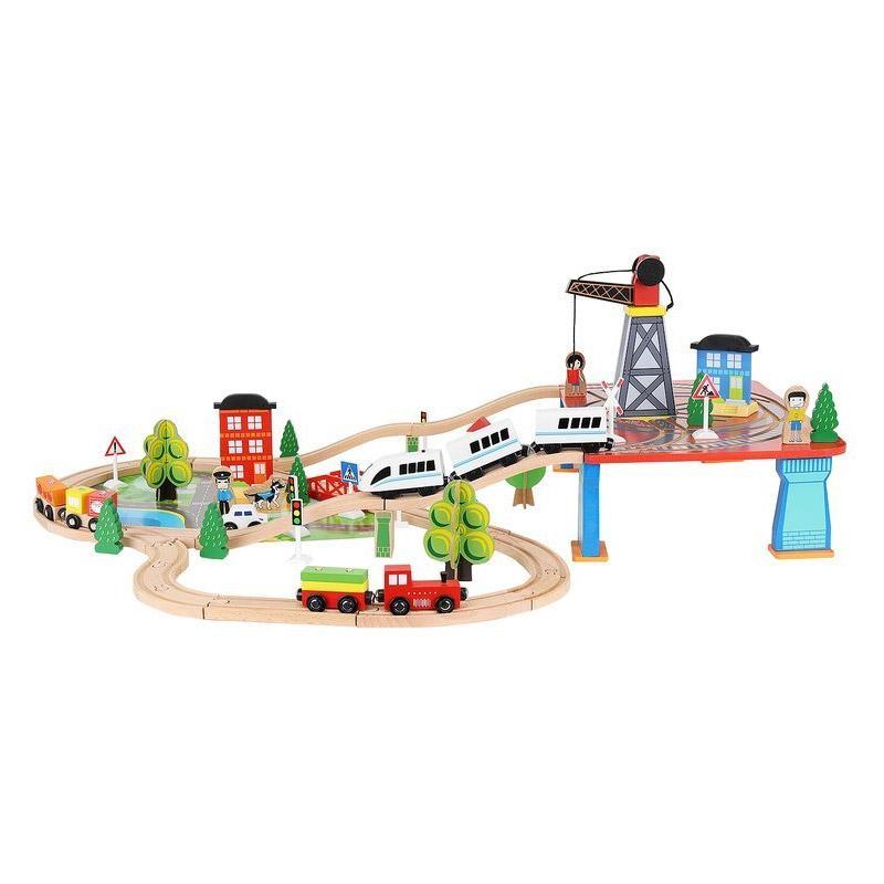 Σετ Ξύλινος Σιδηρόδρομος 88 τμχ Kruzzel 9363
