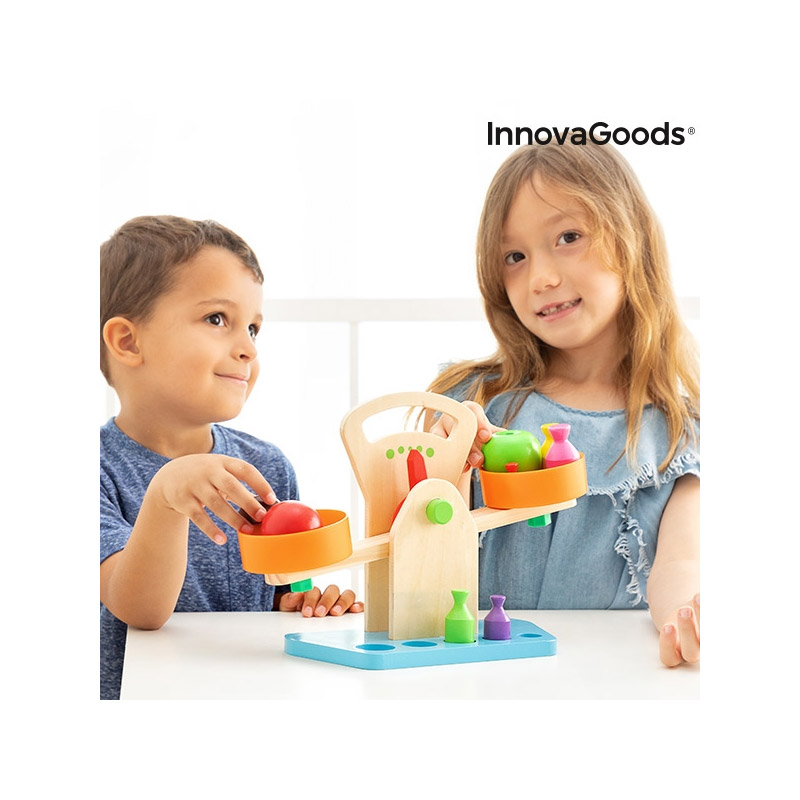 Ξύλινη Παιδική Εκπαιδευτική Ζυγαριά με Βαρίδια InnovaGoods V0101267